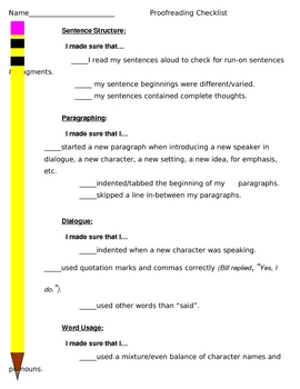 Proofreading and Editing Checklist