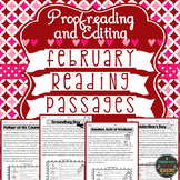 February Reading Passages: Proofreading and Editing with Comprehension Questions