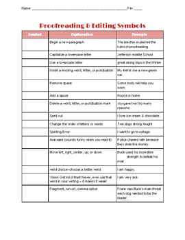 Proofreading and Editing Symbols Graphic Organizer