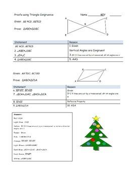 Proofs Holiday Themed Triangle Proofs- ASA, SAS, SSS, & AAS congruenceyHoliday