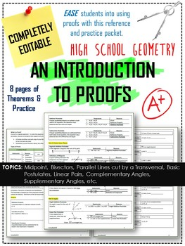 Proofs Packet - Intro to Geometry Proofs Notes Packet with Activities