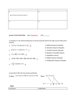 Proofs and Properties Exit Ticket/Quiz