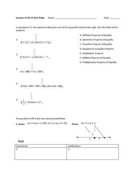 Proofs and Properties Exit Ticket/Quiz