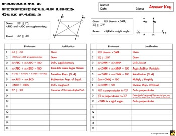 Proofs with Parallel & Perpendicular Lines - Two Column Proof Practice and Quiz