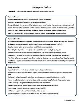 Propaganda Devices for Grades 9-12