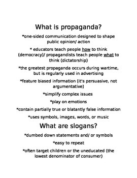 Propaganda Non-fiction and Argumentative Mini Unit