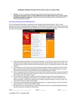 Propaganda Techniques Web Quest for The Hunger Games Suzanne Collins
