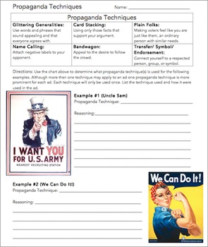 Propaganda Techniques Worksheet by The Wright Ladies | TpT