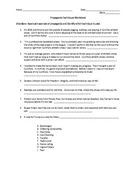 Propaganda Unit - Handout, worksheet, activity, creative project