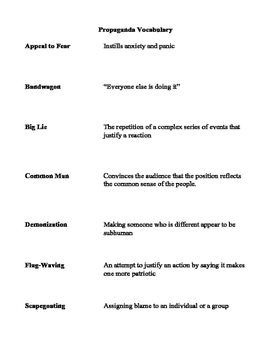 Propaganda Vocabulary Definitions and Student Fill-in Handout