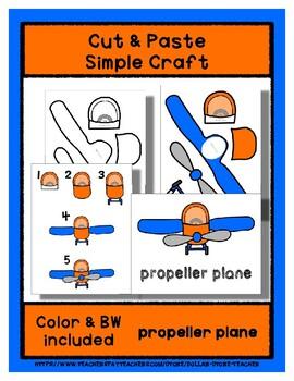 Propeller Plane - Cut & Paste Craft - Super Easy perfect for PreK & Kindergarten
