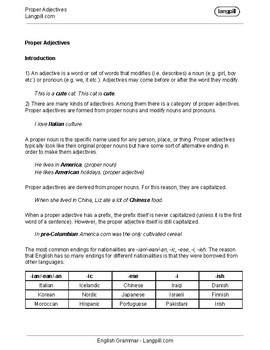 Proper Adjectives Worksheet