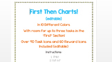 First Then Chart with Over 90 Editable Task Icons and 60 Reward Icons