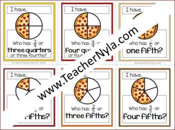 Proper Fractions 'I Have Who Has' Pizza Version