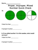 Proper & Improper Fractions, Mixed Number Quick Check