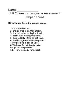 Proper Noun Assessment (Wonders Unit 2 Week 4) - EDITABLE
