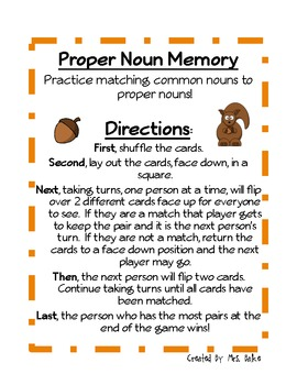 Proper Noun Center Game: Memory