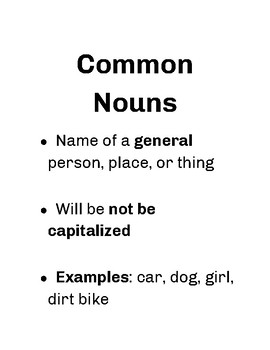 Proper Noun, Common Noun, and Pronoun Posters