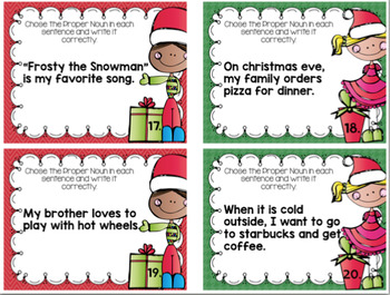 Proper Noun Task Cards Christmas Edition with access to Digital Version
