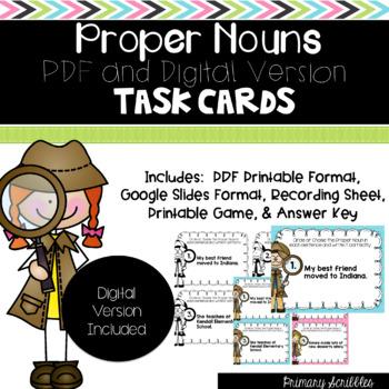 Proper Noun Task Cards (Digital Version Included)