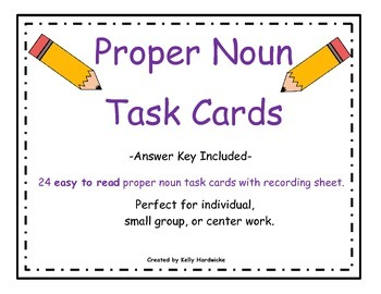 Proper Noun Task Cards (Easy to Read)