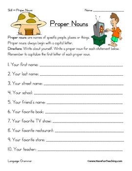 Proper Noun Worksheet by Have Fun Teaching | Teachers Pay Teachers