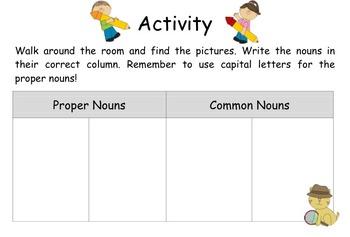 Proper Nouns & Common Nouns Activity & Worksheet