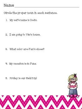 Proper Nouns For First Grade