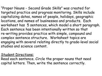 Proper Nouns For Second Grade