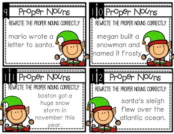 Proper Nouns :  Holiday Task cards