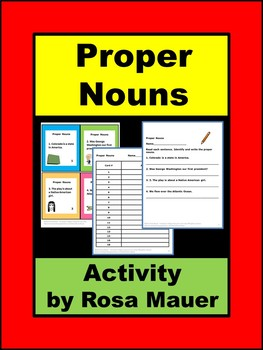 Proper Nouns Task Cards Language Arts