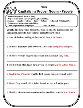 Proper Nouns People Practice Worksheet Capitalizing Proper Nouns Worksheets