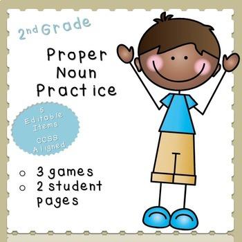 Proper Nouns Practice-EDITABLE! (second grade)
