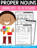 Proper Nouns Reading Comprehension - Fill in the Blanks Worksheets L.1.1.B