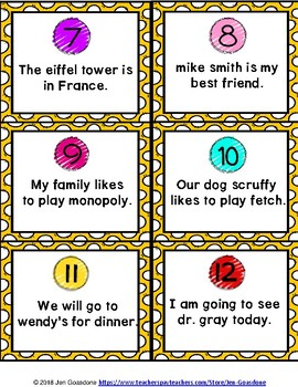 Proper Nouns Grammar SCOOT or Task Cards
