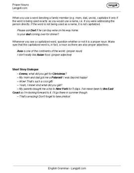 Proper Nouns Worksheet
