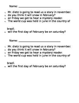 Proper Nouns - Writing Worksheet