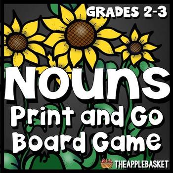 Proper Nouns and Common Nouns Print and Go Board Game for Grades 2-3