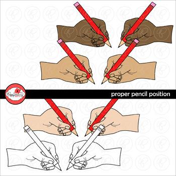 Proper Pencil Position FREEBIE Clipart by Poppydreamz