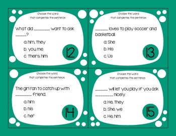 Proper Pronoun Task Cards