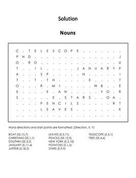 Proper, Singular and Plural Nouns Worksheet/ Word Search - Coloring Sheet