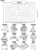 Proper, Singular and Plural Nouns Worksheet/ Word Search - Coloring Sheet