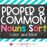 Proper and Common Nouns Sort Center: in Color and B&W options