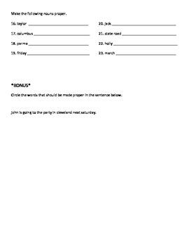 Proper and Common Nouns Test