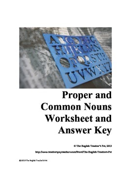 Proper and Common Nouns Worksheet and Answer Key