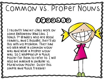 Proper vs. Common Nouns Poster