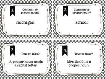 Proper/Common Noun Scoot/Task Cards + Poster