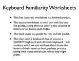 Keyboard Familiarity Worksheets