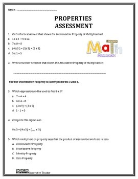 Math Properties Duo - Assessment and Worksheet