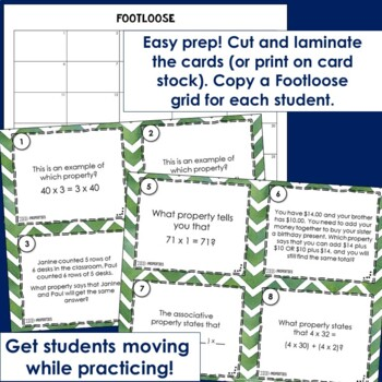 Properties Task Cards-Footloose Math Game|Commutative, Associative, Distributive